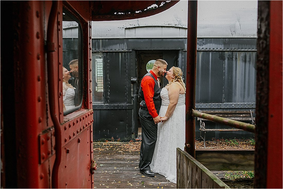 bride and groom on a train car