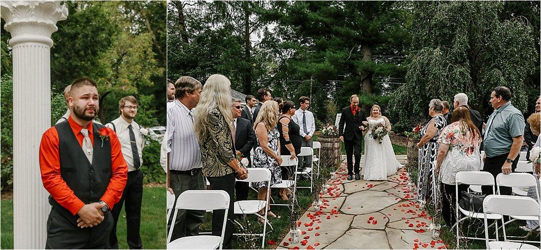outdoor wedding ceremony at bear mill estates in denver pa