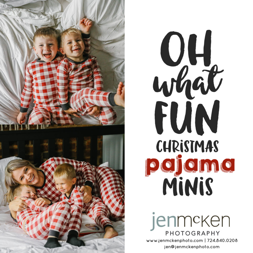 mom and kids in christmas pajamas jumping on the bed