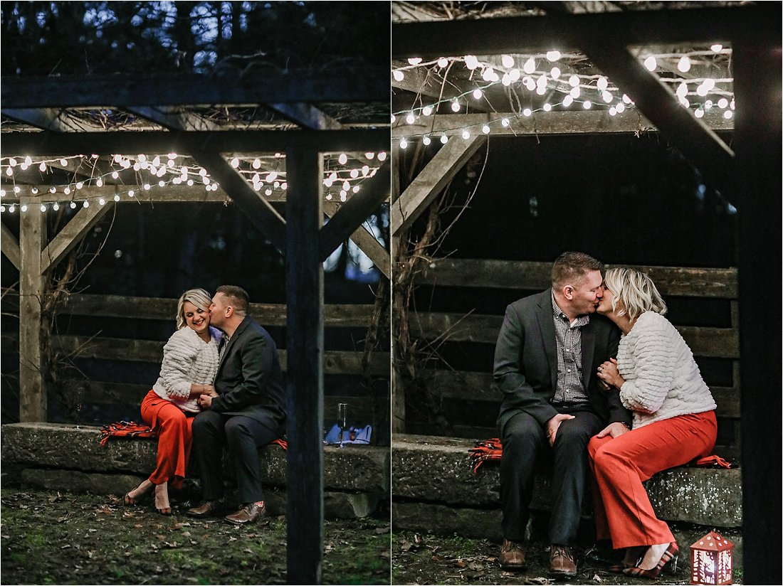 holiday photos under twinkle lights