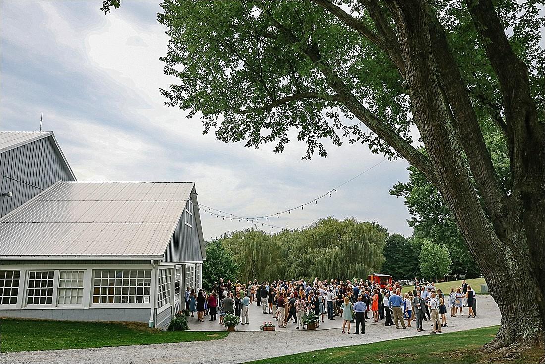 home farm barn wedding guests